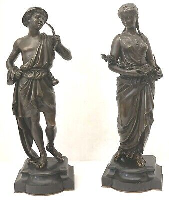 Pair Of Fine 19 Century French Bronze 16''H Figurine The Boy & Girl On Marble