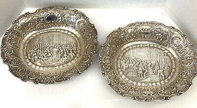 Important 1898 Pair Of Oval Bowls With English Sterling Silver Import Marks