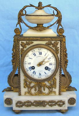 Raingo Fres 19th Century French Marble & Bronze Clock MAGNIFICENT