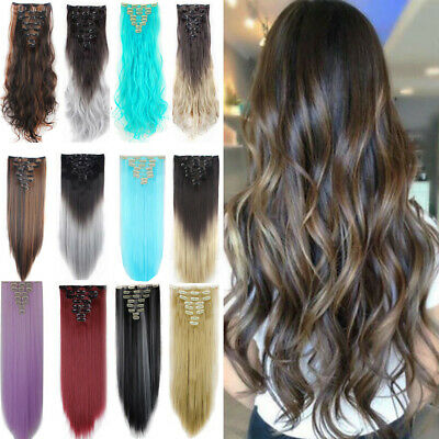 CLEARANCE UK Real Long Clip in Hair Extensions Half Full Head Straight Curly kcb