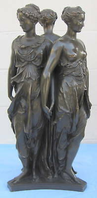 "19th F. Barbedienne 76.2cm Altura Francés Bronce Estatua de ""Tres Graces"" Fino &"