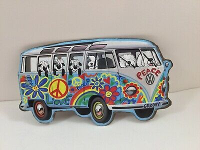 Hand painted old English sheepdog   metal sign Hippie Bus #1 WITH SHEEP