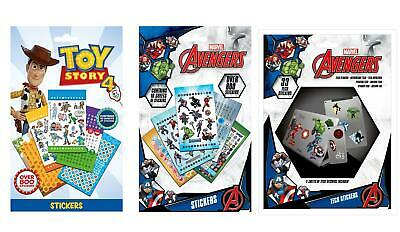 Childrens Stickers Sheets Pack Boys Girls Marvel Toy Story