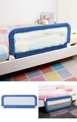 Blue Kids Bed Guard Rail Toddlers Safety Barrier Foldable Portable Easy Storage