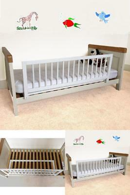 Kids Wooden Bedrail Guard Toddlers Safety Barrier Cot Single Double Bed White
