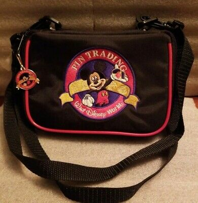 """Disney Parks Pin Trading Bag Zip Closure Includes Pin (can attach to belt)  5x7"""""""