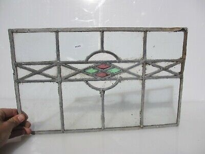 "Antique Stained Glass Window Panel Old Antique Leaded Art Deco Vintage 10"" x17"""