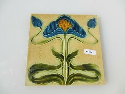 Antique Ceramic Tile Victorian Floral Flower Leaf Art Nouveau Old Craven