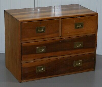 One Of Two Vintage Circa 1950'S Solid Camphor Military Campaign Chest Of Drawers