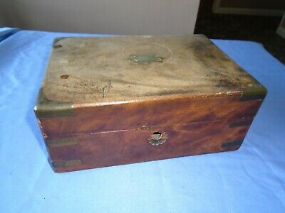 ANTIQUE MAHOGANY WOOD WRITING  BOX  STATIONERY DESK TOP  STORAGE or SEWING BOX