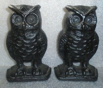 old pair black painted cast iron owl book ends EMIG co mark