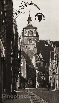 1924 Vintage GERMANY Rothenburg White Tower Clock People Cityscape By HIELSCHER