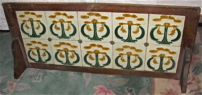 Vintage Art Deco Tile Backsplash Wood frame cabinet wash stand Antique Salvage