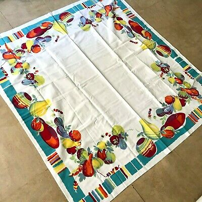Vintage Cotton Wilendur White Tablecloth with Mexican Manjares Print