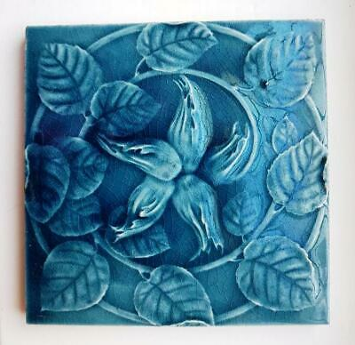 Arts and crafts style Majolica raised tile in lovely turquoise of hazel nuts and