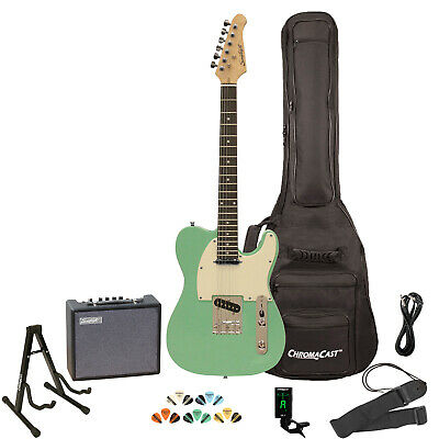 Electric Guitar Kit Amp ChromaCast Stand Tuner Strap Cable Gig Bag Soft Sawtooth