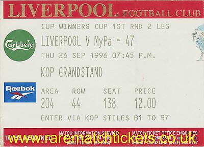 original 1996-97 cwc r1 2nd LIVERPOOL MYPA-47 [kop] ticket