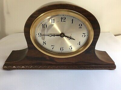 LARGE WOODEN NAPOLEON STYLE MANTLE CLOCK 1920/30s - RUNS WELL - NO GLASS