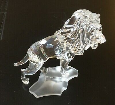 "Swarovski Large Crystal Lion on Rock Base 4.5"" Tall 7610 NR004 Swan Signed AS-IS"