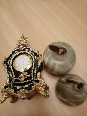 Hand painted ornate clock with 2 marble paper weights