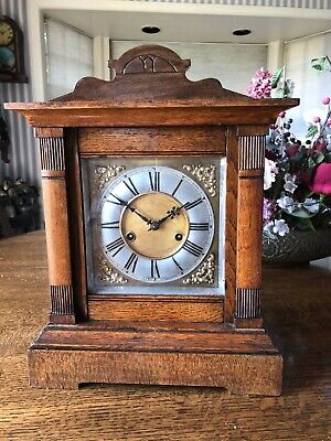 Hamburg German Clock Co  Oak Mantle Clock