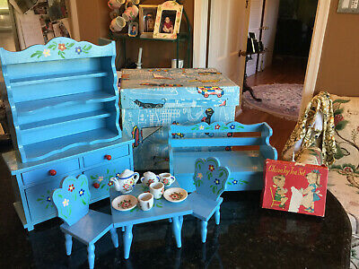 Vintage Romanian Doll Kitchen Furniture Hand Painted Blue & Floral, with tea set