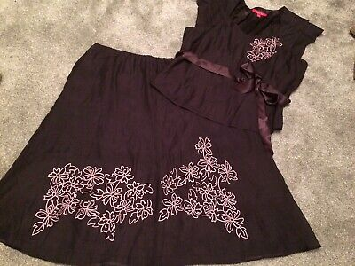 Lovely Jacques Vert Two Piece Outfit Skirt And Blouse Size 20 Vgc