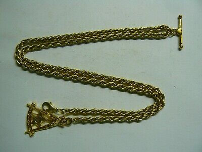Stunning Gold Plated Double Albert Pocket Watch Chain Gold Plated Masonic Fob