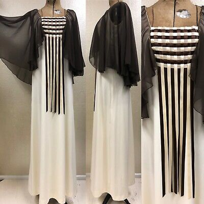 "Vintage 1970s Ladies Brown & Cream Polyester Maxi Dress w/ Shawl 28"" W"