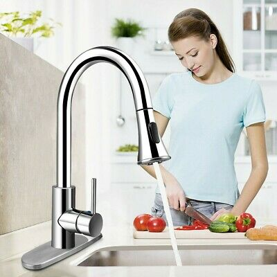 Kitchen Sink Faucet Single Handle Brushed Pull Down Sprayer Nickel Mixer Tap US