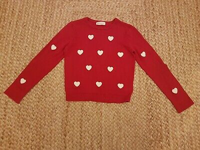 H&M Girls Red Hearts Jumper Age 6-8 years