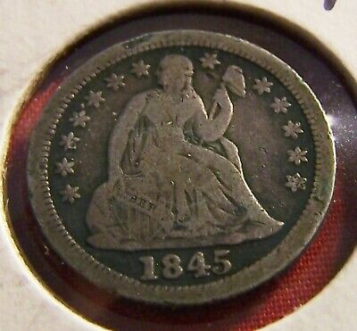 Early Liberty Seated Dime! 1845, About Fine Details, SILVER!