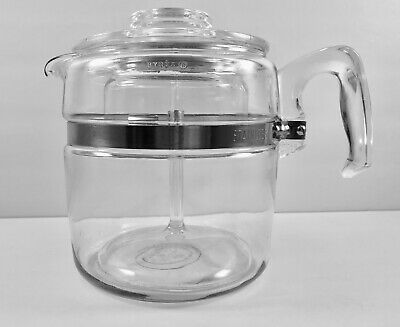 Vintage Pyrex Flameware 6 Cup Glass Coffee Percolator Complete