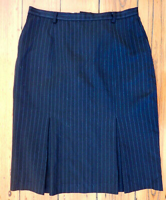 Fletcher Jones vintage pinstriped charcoal wool career skirt size 12 (US 8)