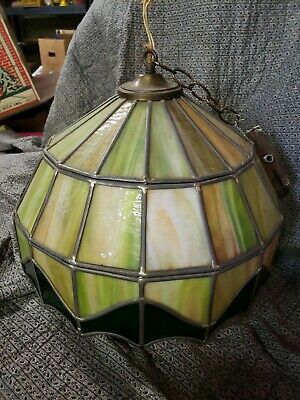 Vintage Leaded Stained Glass Hanging Light-Lamp Shade-Fixture greens