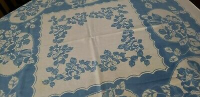 """Vintage Shabby Cottage Floral Tablecloth~Blue & White 48 by 48"""""""