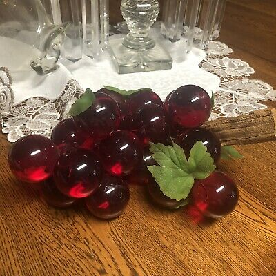 Vintage Mid Century Lucite Acrylic Grape Cluster Red Grapes w/ Driftwood