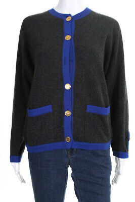 Chanel Womems Cardigan Set Gray Blue Gold Button Size Large
