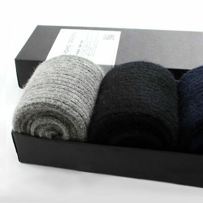 3 Pack Mens 100%Wool Cashmere Heavyweight Socks Therm Solid Thicken Dress Winter