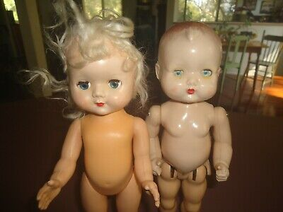 Vintage English Hard Plastic Dolls X 2 Need Some Tlc