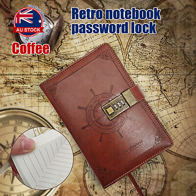 B6 Retro Note Book Brown Leather Journal Wired Diary with Password Code Lock D