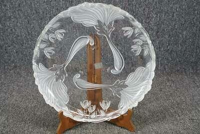 """Mikasa Glass 12 1/2"""" Serving Dish With Frosted Floral Etching"""