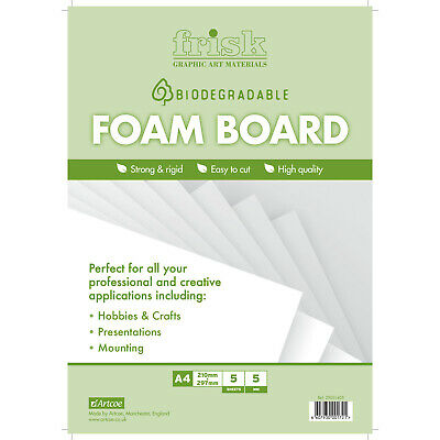 Bio-degradable White Foamboard 5mm A4 Pack of 5