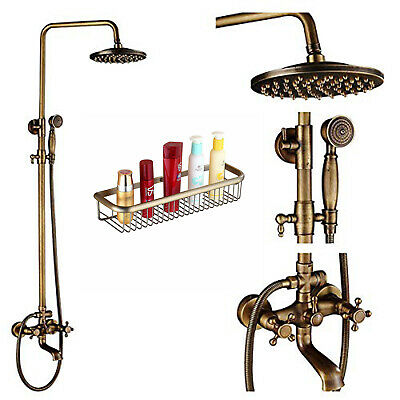 Antique Brass Shower Faucet System Set Rainfall Head Swivel Tub Spout With Shelf