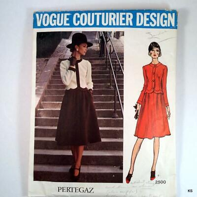 VTG 1960s Vogue Couturier Design Pertegaz Pattern 2500 2-pc. Jacket Skirt Sz. 10