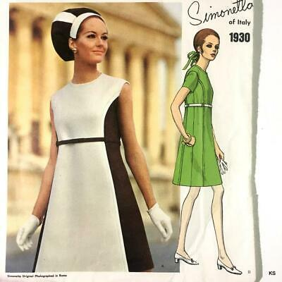 1960s VOGUE COUTURIER DESIGN Sewing Pattern SIMONETTA Italy Dress Sz 12 Vintage
