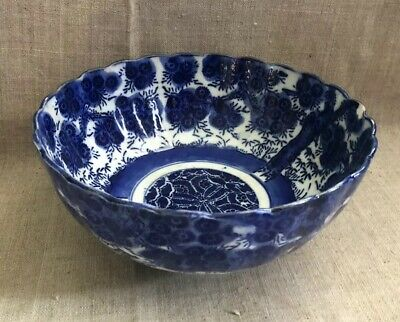 Antique Japanese Blue White Meiji Period Bowl Scalloped Edges Imari Floral Ptrn