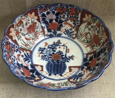 Antique Japanese Imari Porcelain Bowl Scalloped Edges Meiji Period 19th Century