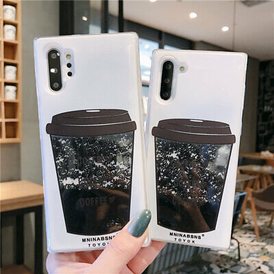 For Samsung Galaxy Note 10 Plus S10 S9 Coffee Dynamic Quicksand Soft Case Cover