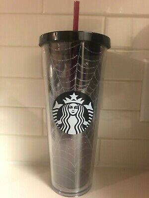 Starbucks Fall Halloween 2019 Silver Glitter Spider Web Tumbler Limited Edition